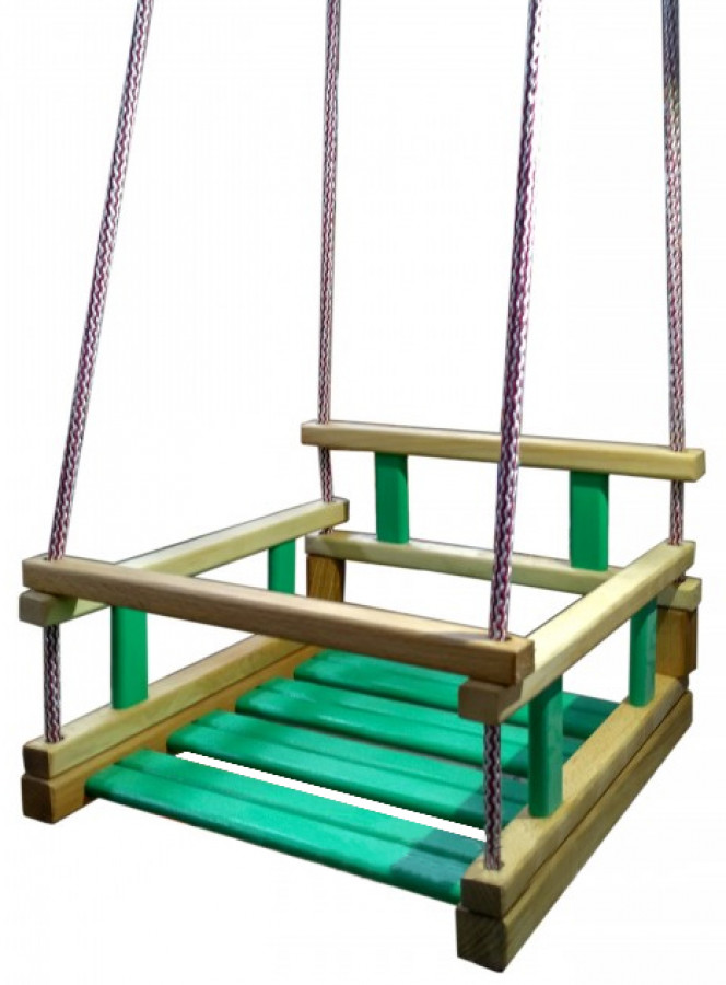 Гойдалка підвісна 'МАЛЮК' зелена дерево-бук, вощені планки,(вага ±2,2 кг.),уп.кульок на шнурках