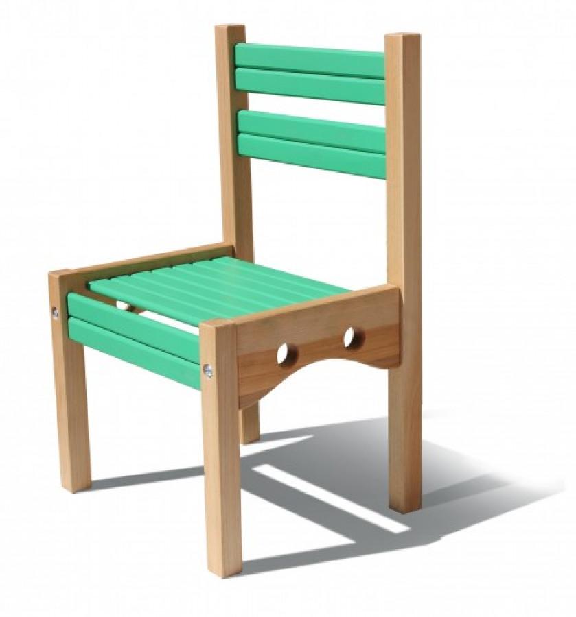 Стільчик дерев'яний 'Ведмедик' Зелений  (1 ростова група)  h1=52см.,h2=26см. сидіння 34Х26см