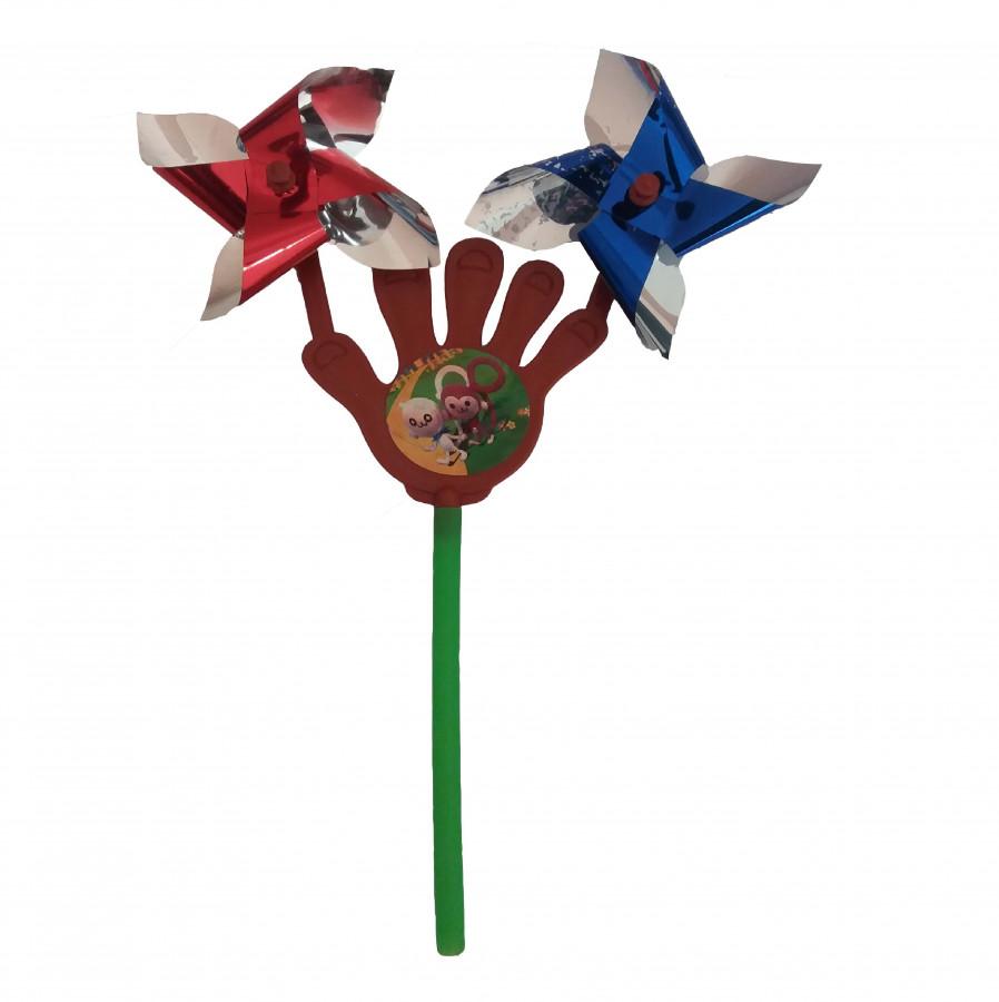 Вітрячок (960шт) вертушка. долонька 2 шт., розмір маленький, діам. 7см, палочка 15см, розібр.