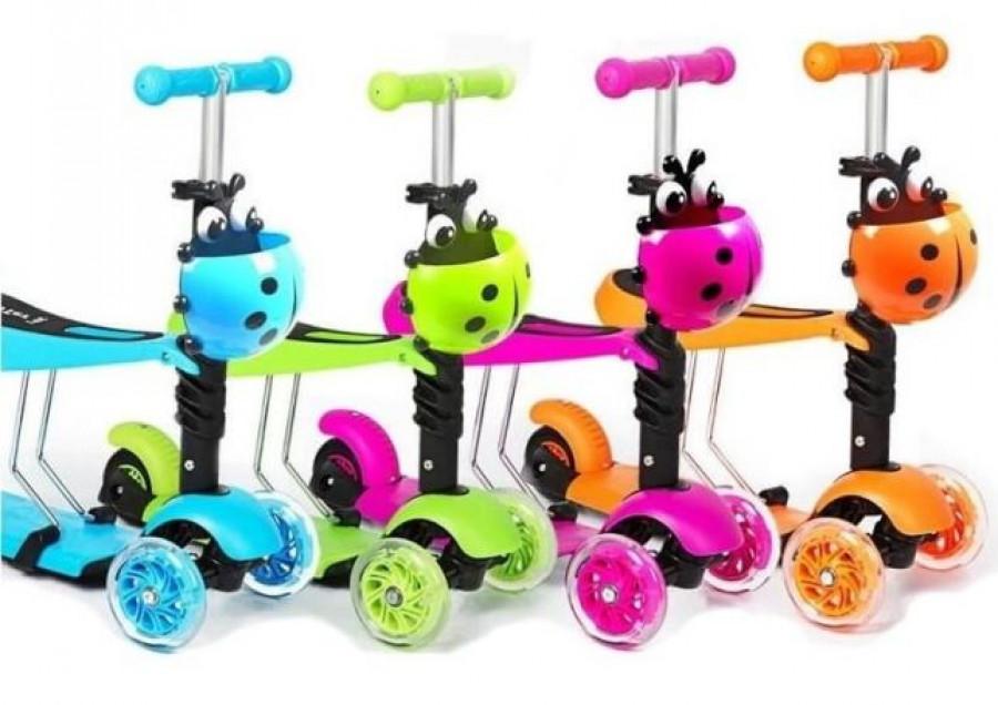 Самокат (6шт) MAXI,3в1(велобіг),алюм+пласт,колес3штПУ(2пер110мм-св),руль47/69см,корз,6кол