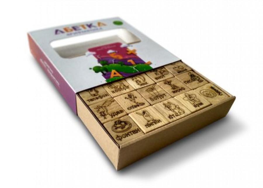 Кубики з дерева 'Абетка' +Арифметика  натуральне дерево  50 елементів  156*158+34