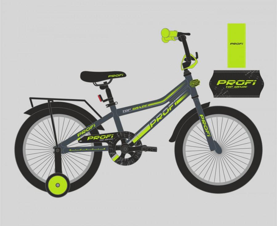 Велосипед дитячий PROF1 16' (1шт) Top Grade,графіт-салат.(мат),дзвоник,доп.колеса
