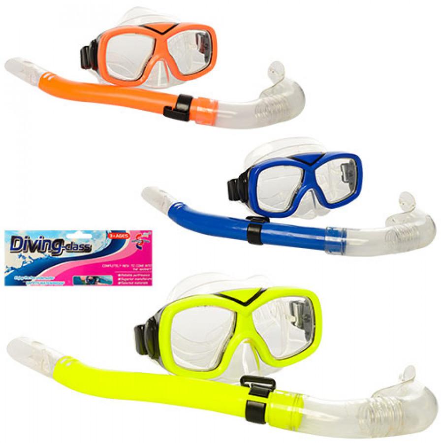 Набір для плавання 65162 (48шт) маска(регулю. ремінь), трубка, 3кольор,в кульку, 45-19,5-7см