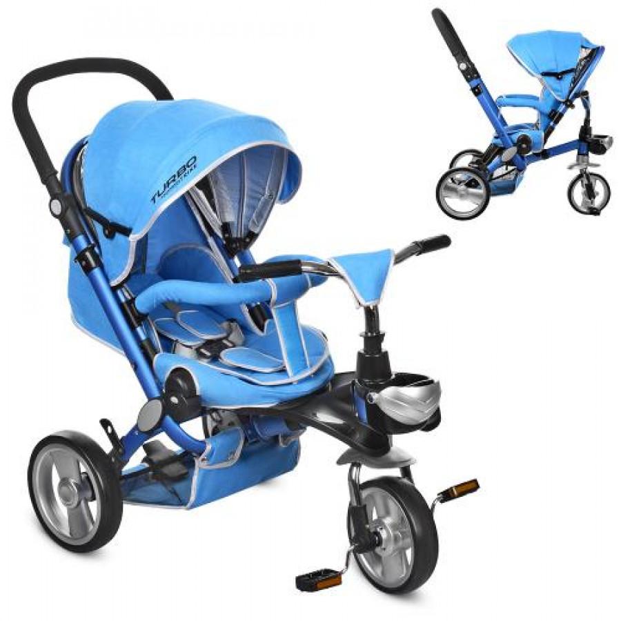 Велосипед (1шт)три кол.EVA (12/10),колясочн,алюм,поворот,з'ємні.кол.360,синій