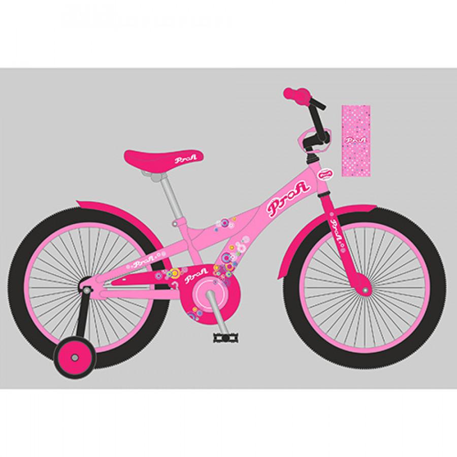 Велосипед дитячий PROF1 14' (1шт) Original girl,рожевий,дзвоник,доп.колеса