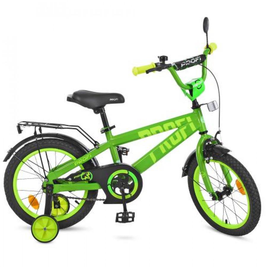 Велосипед дитячий PROF1 16' (1шт) Flash,салатовий,дзвоник,доп.колеса