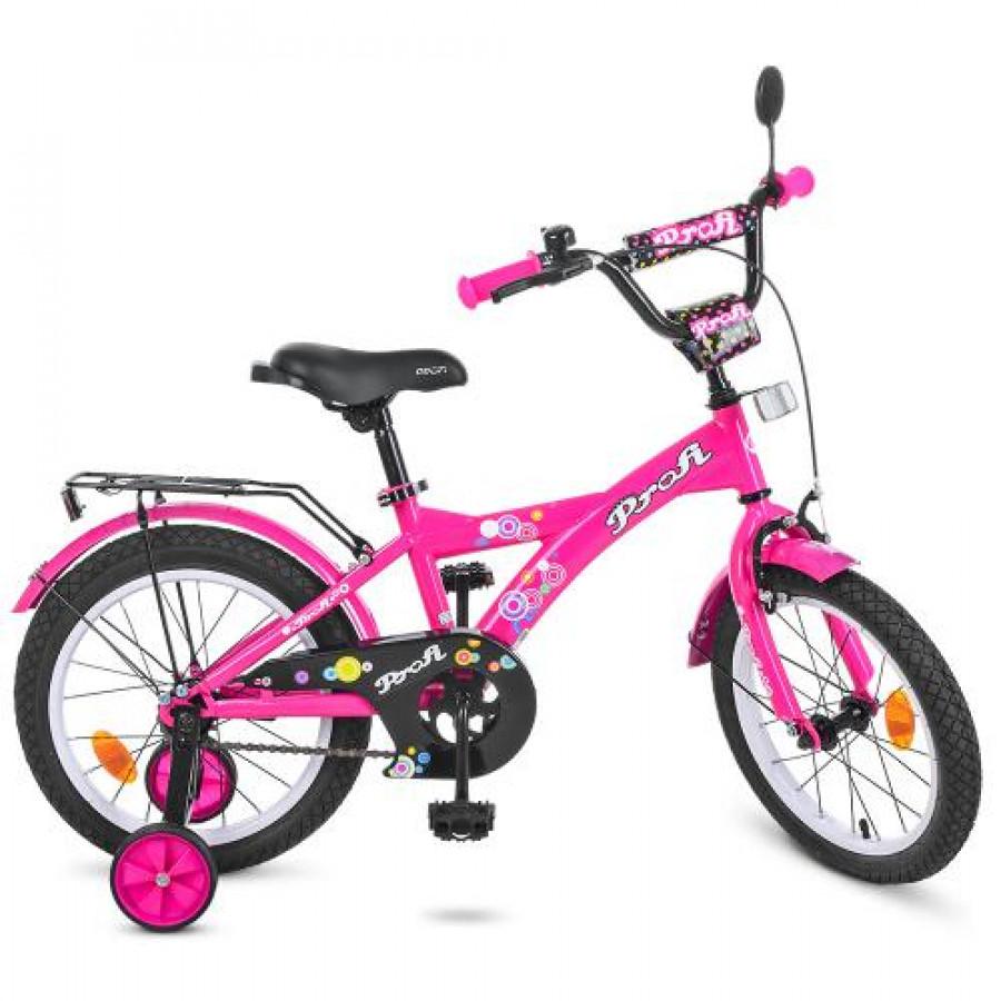 Велосипед дитячий PROF1 16' (1шт) Original girl,малиновий,дзвоник,доп.колеса