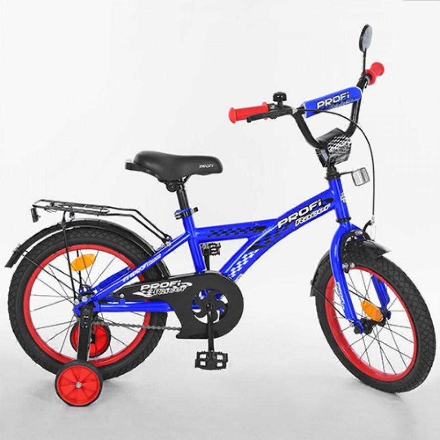 Велосипед дитячий PROF1 16' (1шт) Racer,синій,дзвоник,доп.колеса