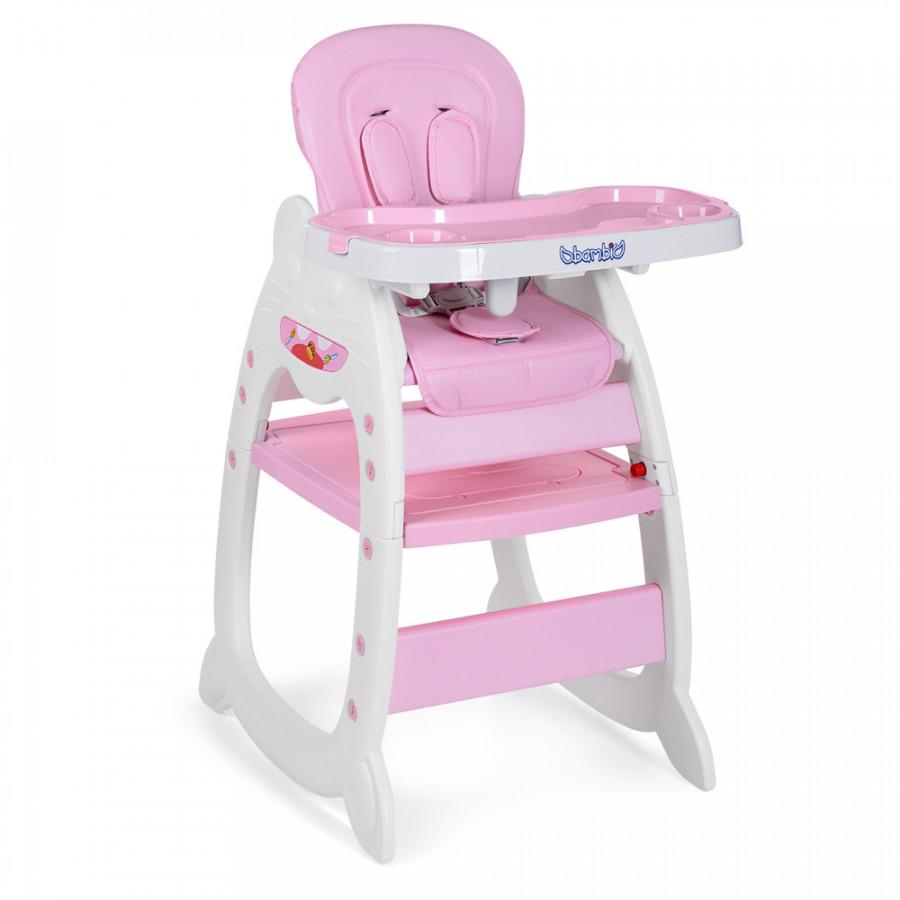 Стільчик (1шт) для годування,трансформ-2в1(столик з стільчиком),рег.спин,рем.без,рожевий