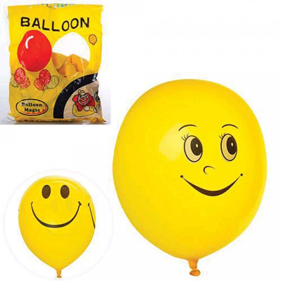 Повітряні кульки (100шт) 10дюймів, смайл, 2 вида, 50шт в кульку, 22-27-5см