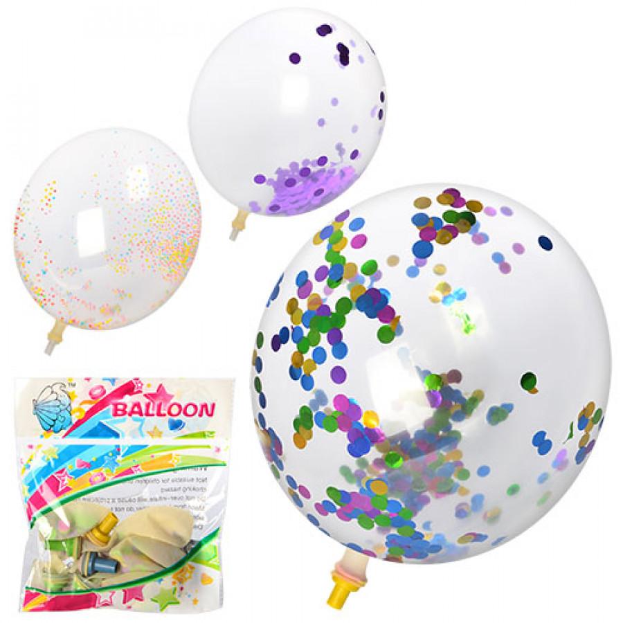 Повітряні кульки (100шт) 12дюймов, мішура, 3 вида, 5шт в кульку, 13-12-2см