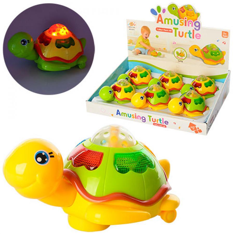 Заводна іграшка (144шт) 13,5см, черепаха, муз, 3Dсвітло, на батарейці, 6шт в дисплеї, 35-27-8см