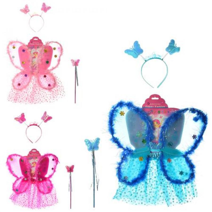 Крила метелика (60шт) 45-40см, спідничка 28см,обруч,палочка,3кол,в кульку, 45-58-2см