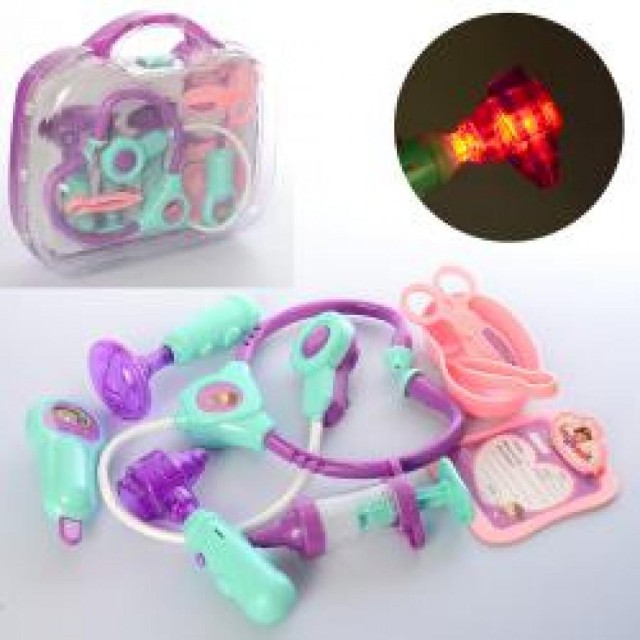 Лікар 5683-1 (18шт) стетоскоп, ножниці, інструменти, звук, свет, бат(таб), в чемодані, 28-24-9см