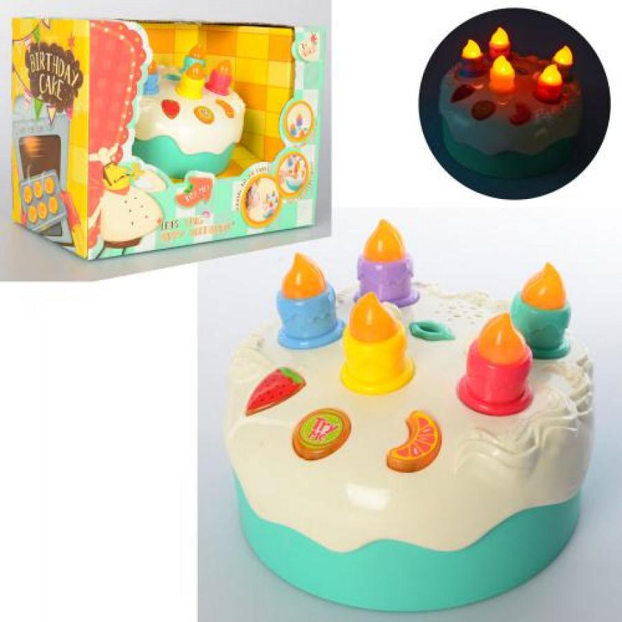 Продукти (36шт) торт, 13,5см, свічки, муз(happy birthday), св,на бат-ці, в коробці, 26-20-15см