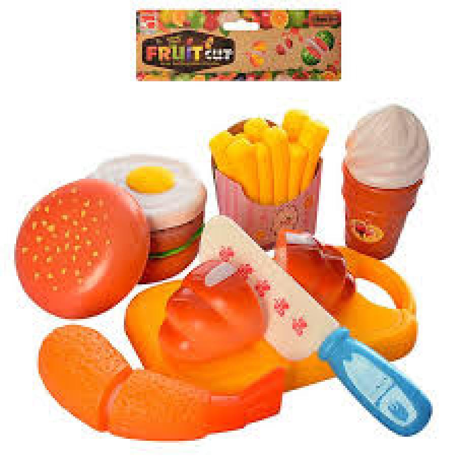 Продукти (90шт) на липучці, фастфуд/солодощі, 6шт, досточка, ніж, в кульку, 20-24-3,5см