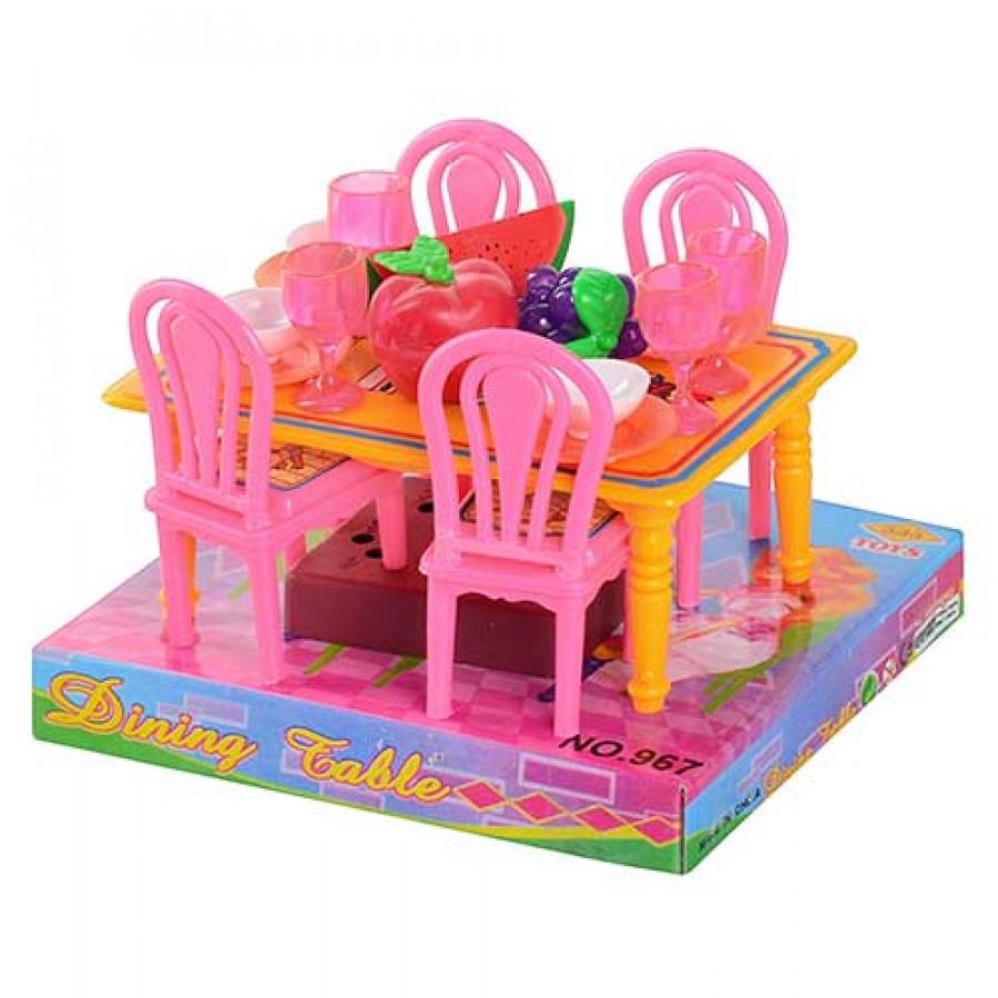 Столова (180шт) стіл, 4 кріселка, в слюді, 14см