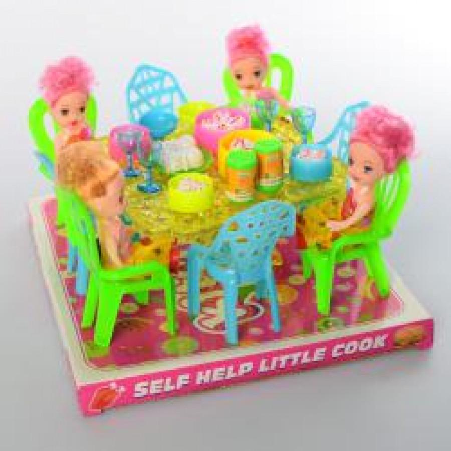 Їдальня 66-53 (48шт) стіл, стільці, лялька 4шт, 10см, посуда, продукти, в слюді,23-21-12см