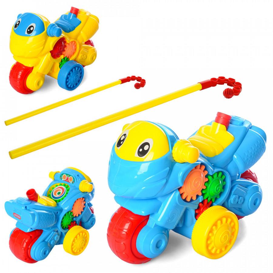 Каталка (84шт) на палці 40см, мотоцикл, звук-пискавка, тріщотка, 2кольори, в кульку, 20-15-11см