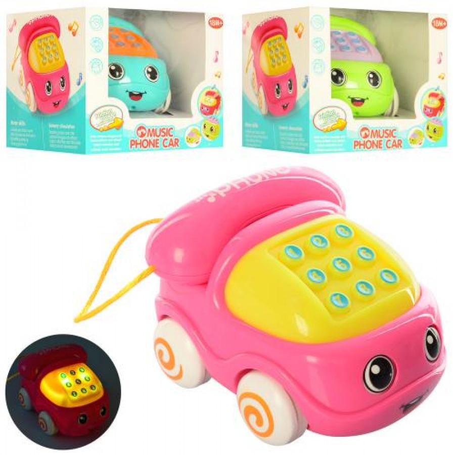 Каталка 592B (54шт) телефон, 11см, на шнуре, муз, зв, св, 3цв, бат(таб), в кор-ке, 12,5-10-12см