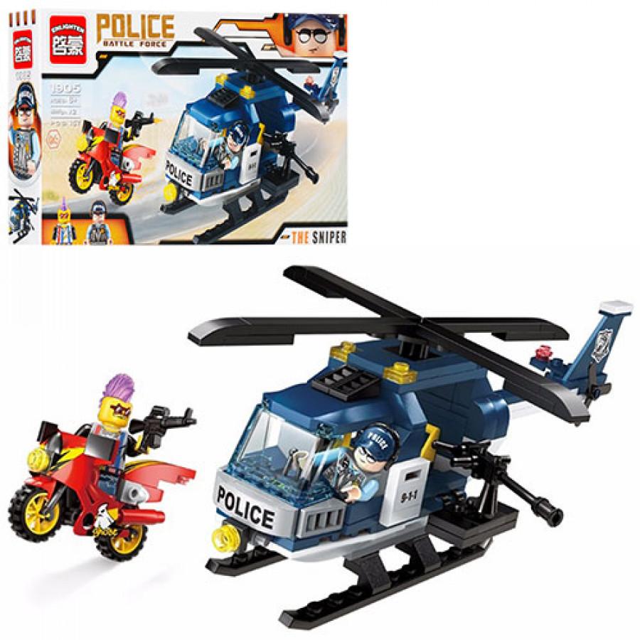 Конструктор BRICK (48шт) поліція, вертоліт, мотоцикл, фігурки 2шт, 157дет,в коробці, 30-17,5-5с