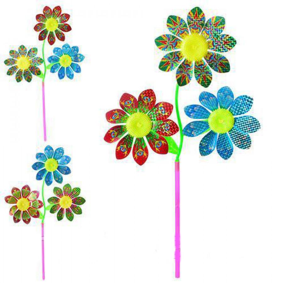 Вітрячок (120шт) розмір велик.61см,діам16,5см,паличка27,5см,квітка,фольга,3вид,кул,20-25-3см