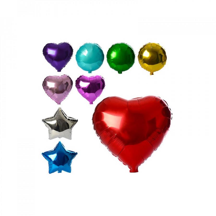 Повітряні кульки з фольги (1000шт) 44см, 3вида(куля,сердце.зірка),мікс кольорів