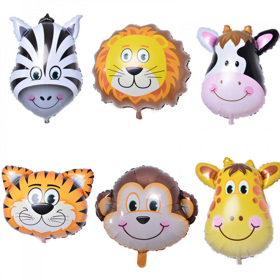 Повітряні кульки з фольги (500шт) тваринки, 60-45см, 6 видів