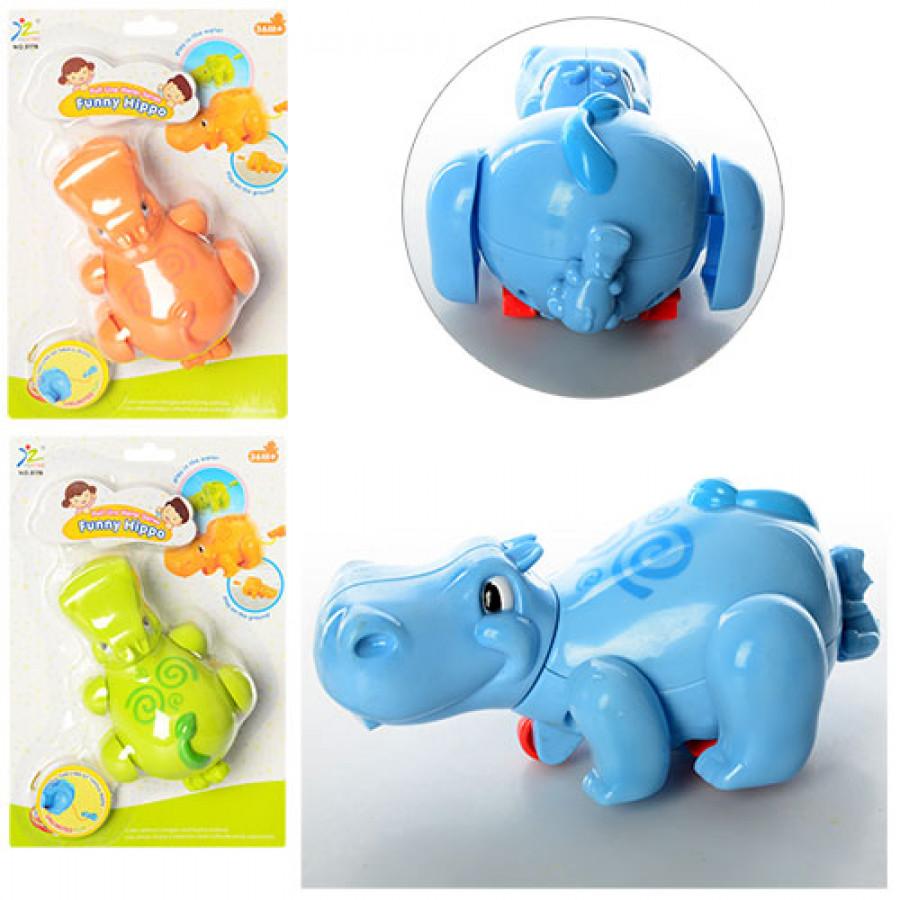 Заводна іграшка (120шт) бегемотик, 3 кольори, на листі, 17-25-8 см