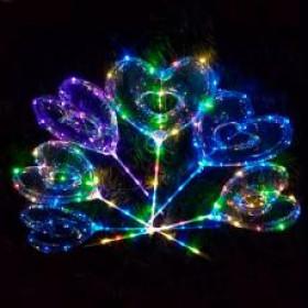 Кульки надувні (100шт) BOBO, сердце, світлові еф., гирлянда 3м, на палці70см, на батарейці