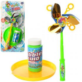 Мильні бульбашки (72шт) гра, вітрячок, запаска 80мл, 2 кольори, на листі,18-37,5-6см
