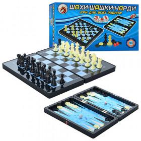 Шахмати 8899 (36шт) 3 в 1, пластмасові, в коробці, 32-18-5см