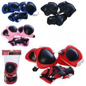 Захист (120шт) для колін, ліктів, зап'ястків, 4кольори,  в сітці, 16,5-29-6см
