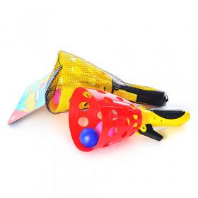 Ловушка (72шт) стріляє кульками, кульки 2шт, 2 кольори, в сітці, 37-15,5-12см