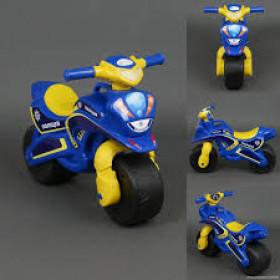 Мотобайк музичний  поліція синій корпус, жовте сидіння