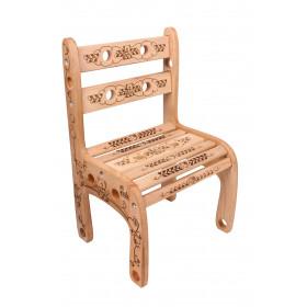 Стільчик дерев'яний 'Вудік' Арт ведмедик дівчинка (1 ростова група)h1=52см.,h2=26см. сидіння 34Х25см