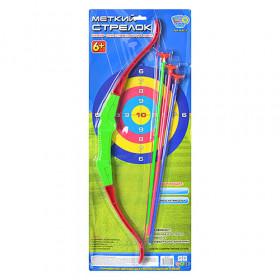Лук M 0013 (48шт) 58см, стріли на присосках 3шт 42см, на листі, 64-26см