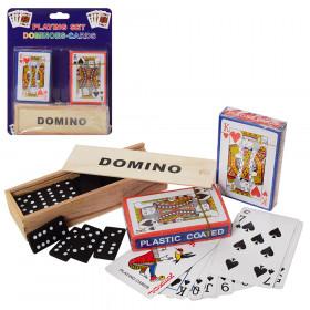Настільна  ігра A140 (72шт) домино(дерев), карты 2шт, на листе, 18-23-4см