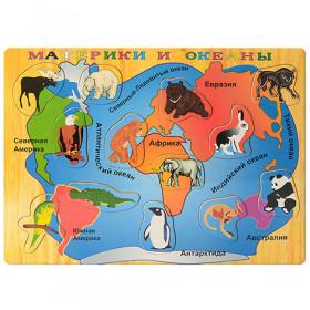 Деревяна Ігрушка Рамка-вкладиш MD 1018 (144шт) карта+животные, в кульке, 40-30-1см