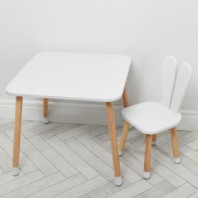 Набір 'Зайчик', білий, 2 пр., столик 600х600, вис.520 мм. + стільчик, сид 300х300, вис сид.300 мм., заг вис 600 мм.