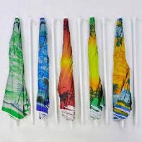 Парасоля пляжна С 36388 (30) 5 цветов, С НАПЫЛЕНИЕМ, d=150см, длина 180см
